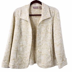 Chico's Open Front Cuffed Sleeve Jacket Blazer